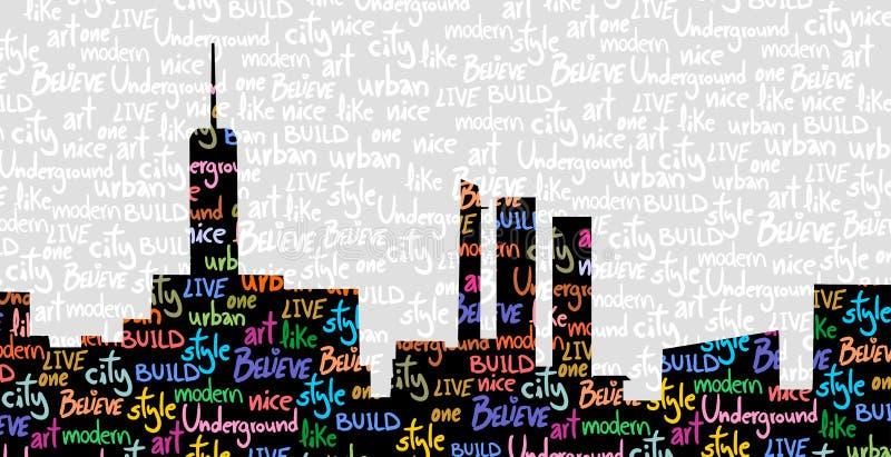Färben Sie Stadt künstlerisch vektor abbildung