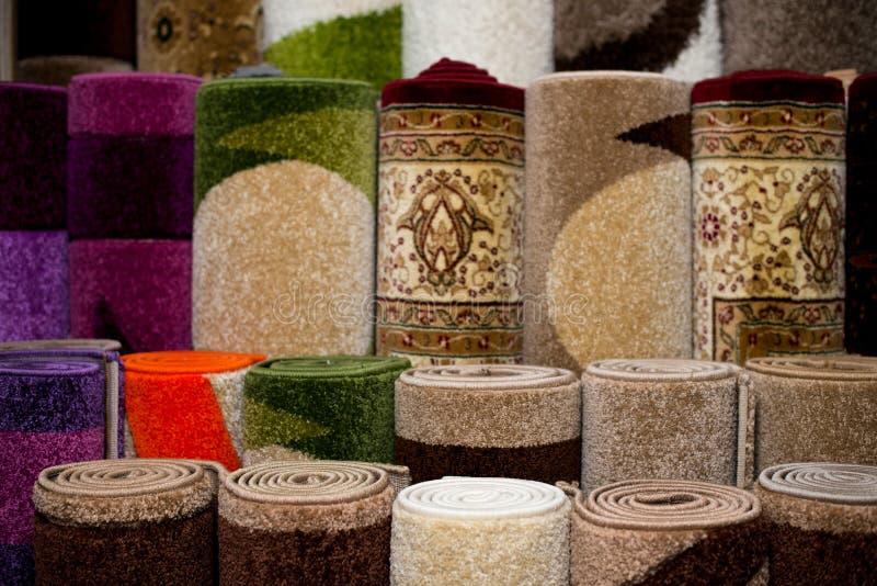 Färben Sie strukturierte Teppich-Oberflächen-Detail-Besondere-Ansicht stockfoto