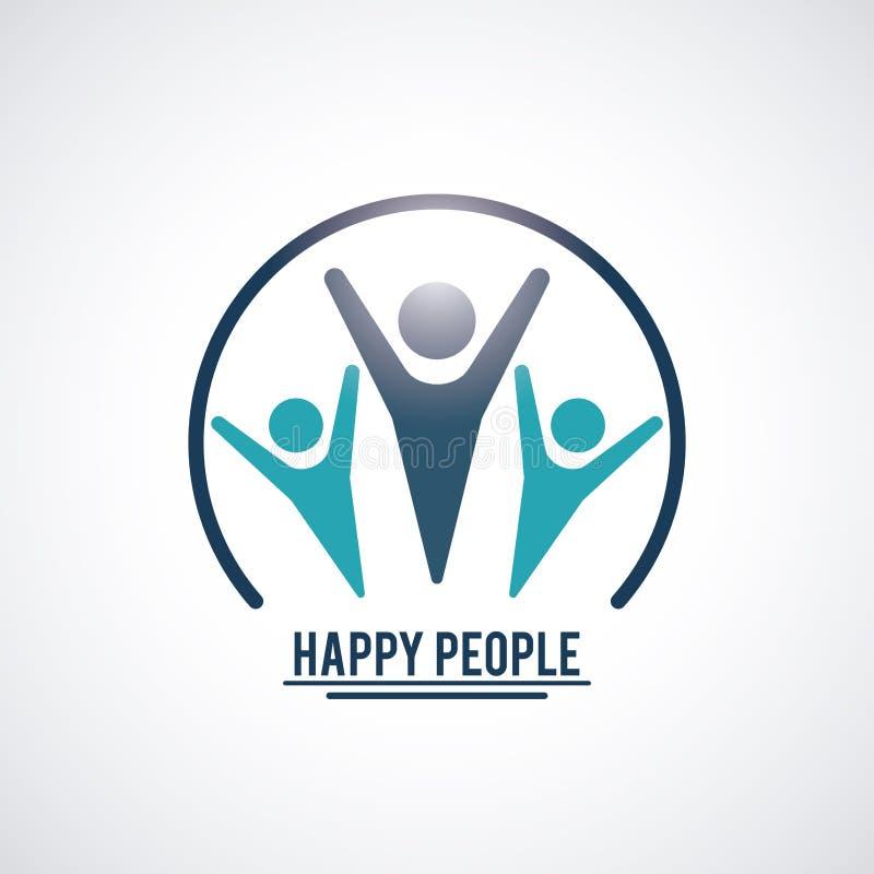 Färben Sie Teamwork-glückliche Menschen mit den Kreispiktogrammhänden des spants drei oben nach innen lizenzfreie abbildung
