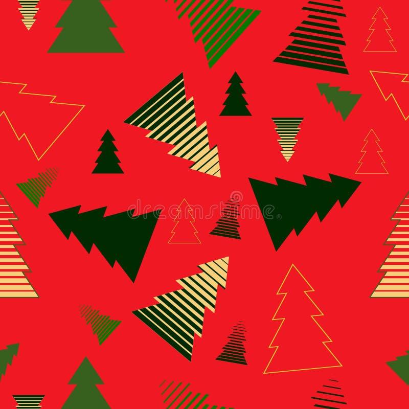 Färben Sie Weihnachtsbäume auf rotem Hintergrund, Vektorillustration stock abbildung