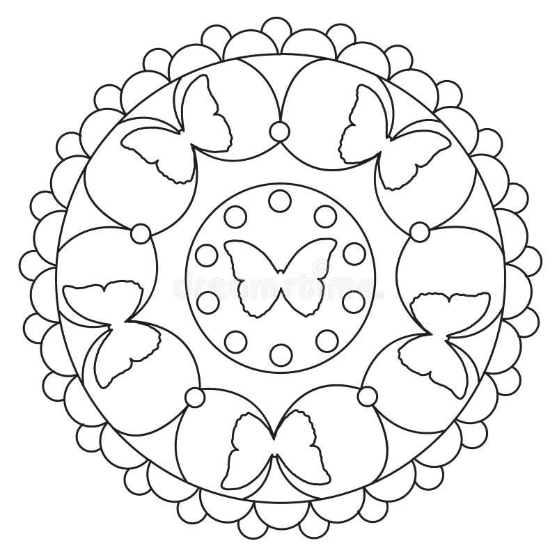 Färbende Einfache Schmetterlings-Mandala Vektor Abbildung ...