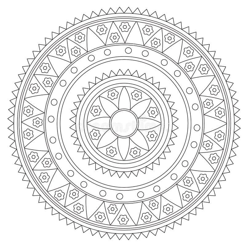 Färbende Geometrische Blumen-Mandala Vektor Abbildung - Illustration ...