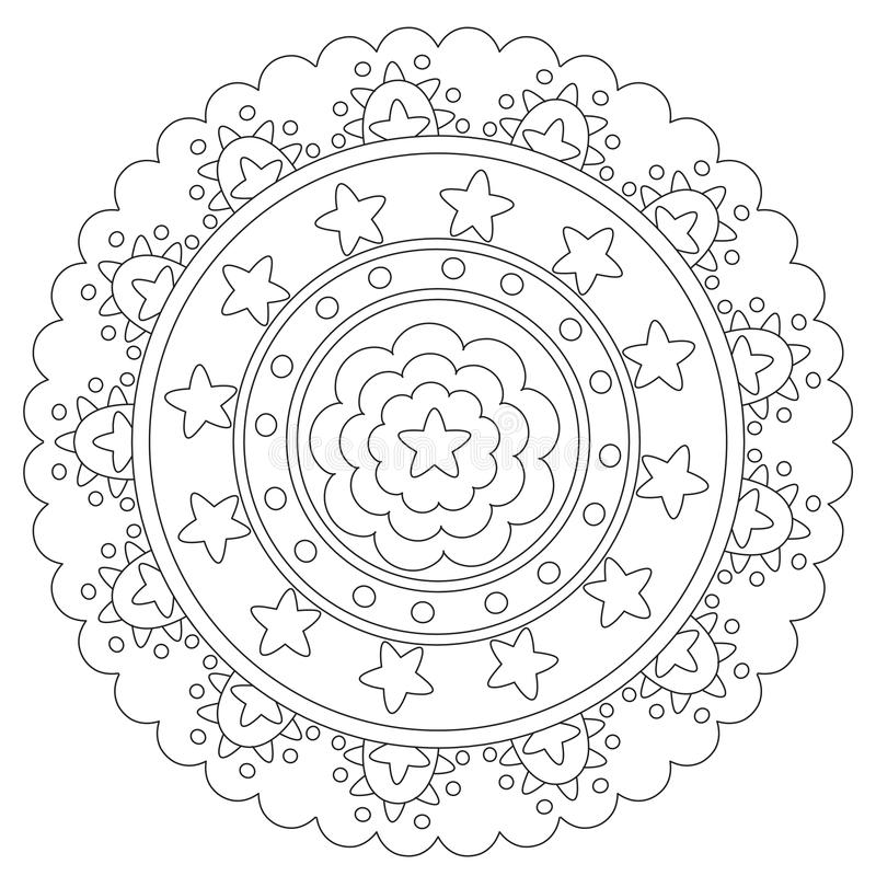 Färbende Geometrische Stern-Mandala Vektor Abbildung - Illustration ...