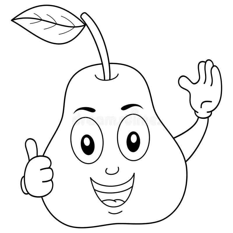 Färbende glückliche Birnen-Zeichentrickfilm-Figur lizenzfreie abbildung