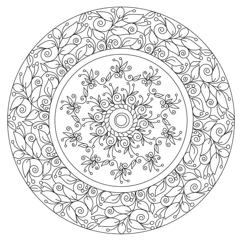 Färbende Schöne Blumenmandala Vektor Abbildung - Illustration von ...