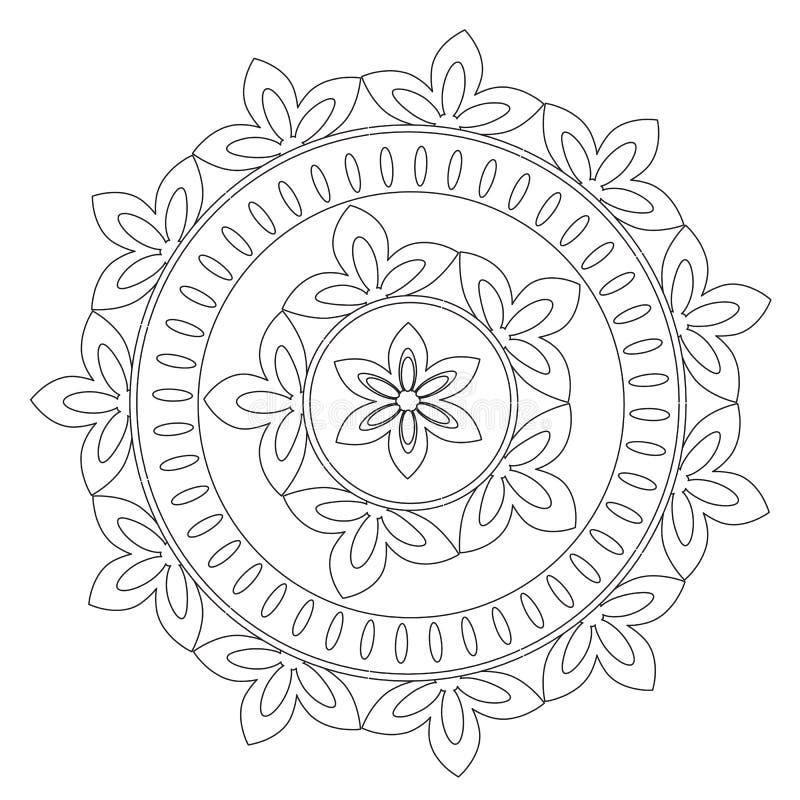 Färbende Schwarze Mandala Flower Vektor Abbildung - Illustration von ...