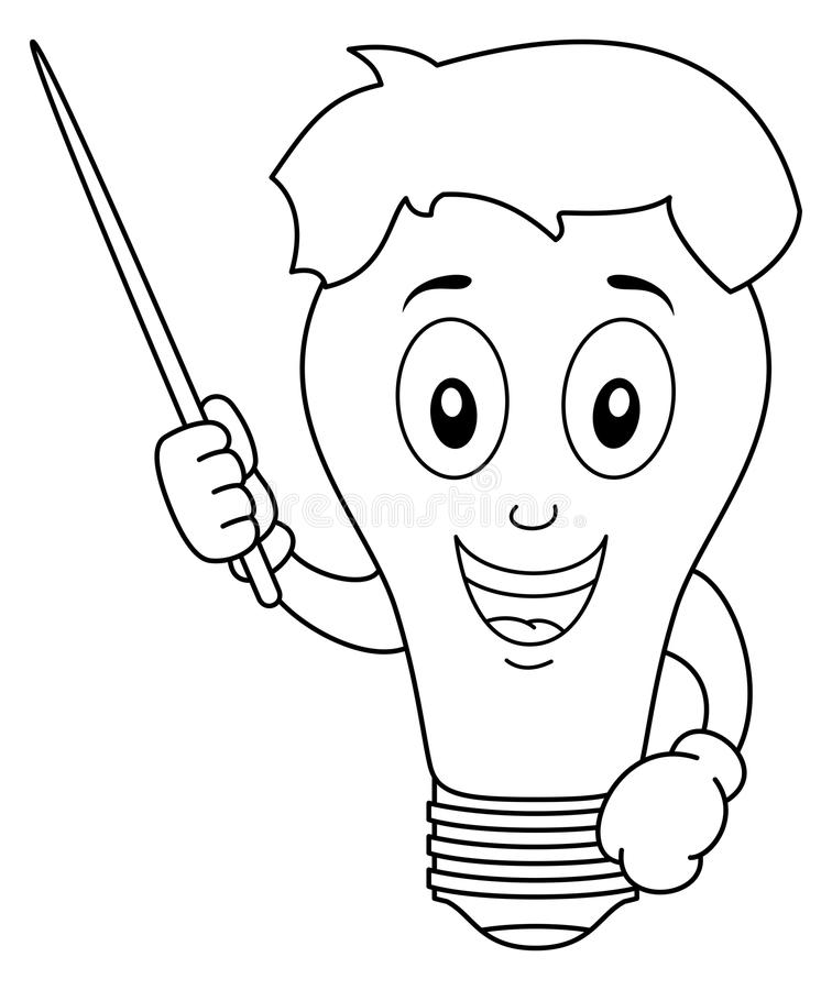 Färbender Glühlampe-Charakter mit Zeiger lizenzfreie abbildung