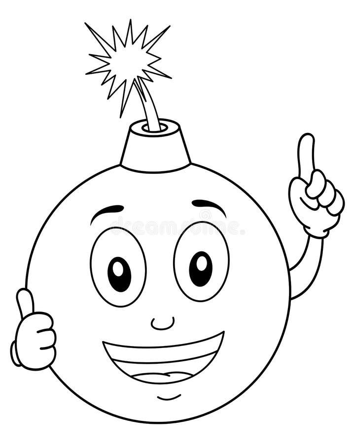 Färbender lustiger explodierender Bomben-Charakter stock abbildung