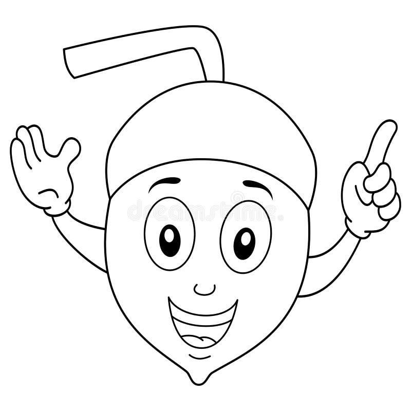 Färbender lustiger Karikatur-Eichel-Charakter stock abbildung