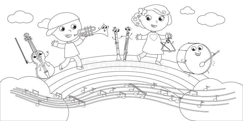 Färbender Musikinstrument- Und Kindervektor Vektor Abbildung ...