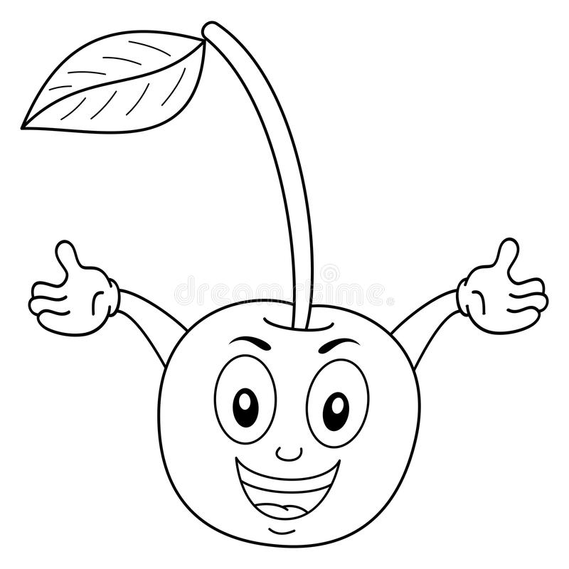 Färbender netter Cherry Cartoon Character stock abbildung