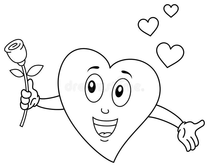 Färbender netter Herz-Charakter, der Rose hält stock abbildung