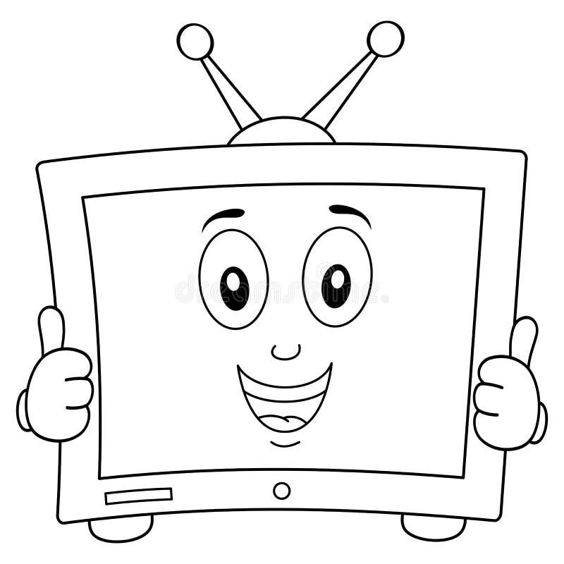 Färbender netter Karikatur-Fernsehcharakter stock abbildung