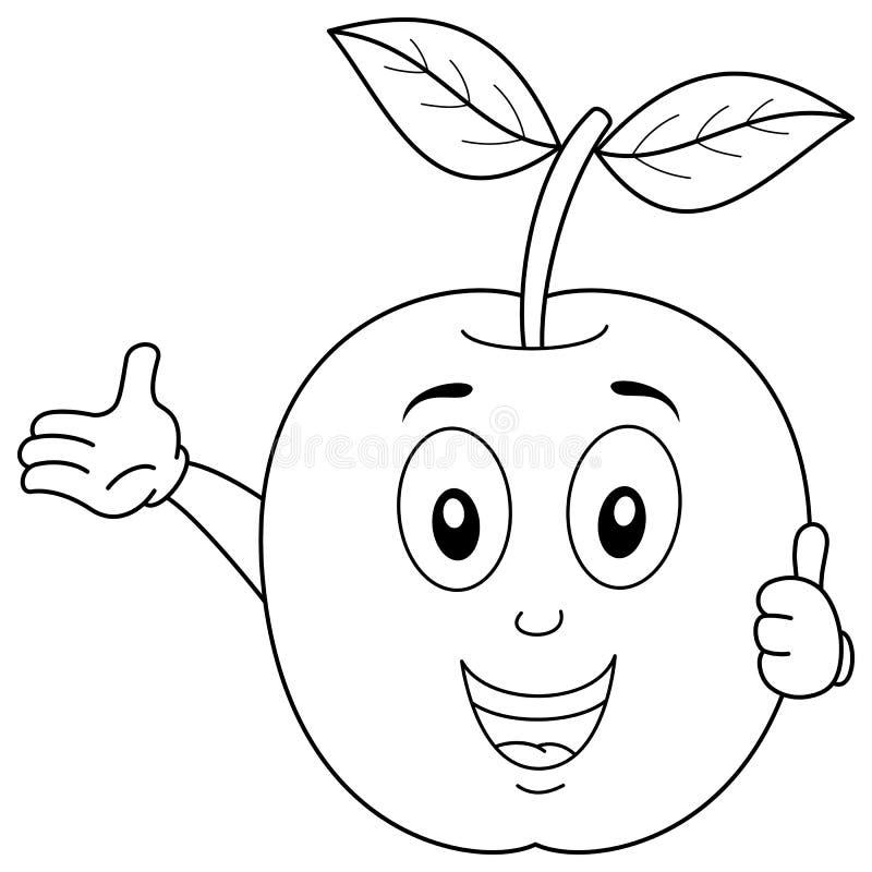 Färbendes glückliches Apple-Charakter-Lächeln vektor abbildung