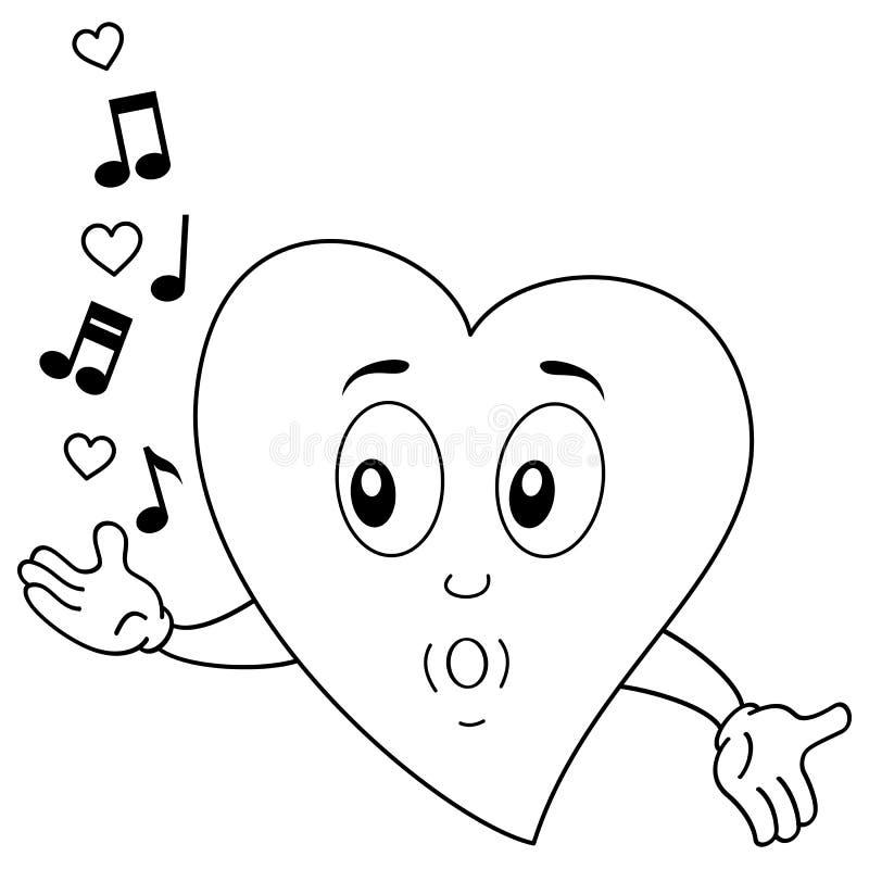 Färbendes glückliches Herz-Charakter-Pfeifen vektor abbildung