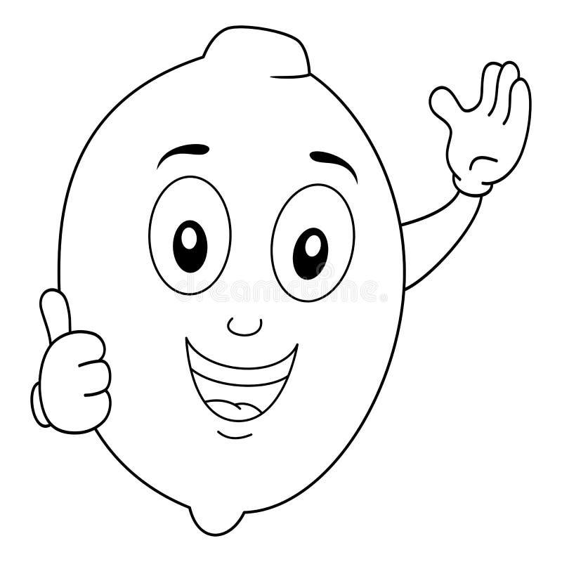 Färbendes glückliches Zitronen-Charakter-Lächeln stock abbildung