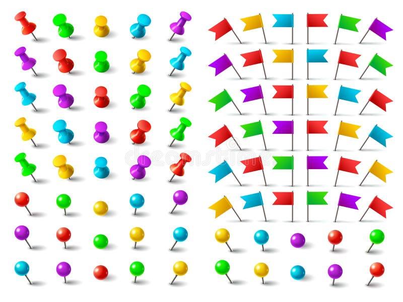 Färbt Druckbolzen, festgesteckte Flagge und Reißzwecke Stoßstifte für den Druck auf Kartenbrett lokalisierten Vektorsatz vektor abbildung