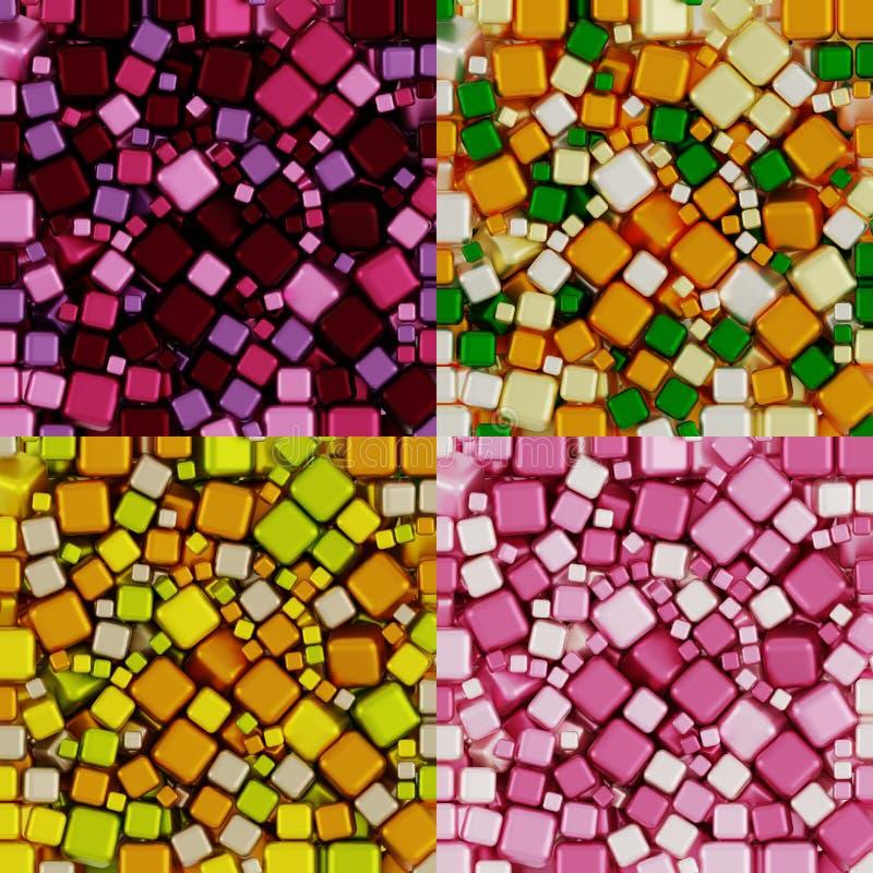 Färbt rosa Creme Trauben-Purpur-orange Zitronen-Birnen-Wood Greens Packpapier-Nicht-nahtloses Muster, Illustrations-Collage stock abbildung