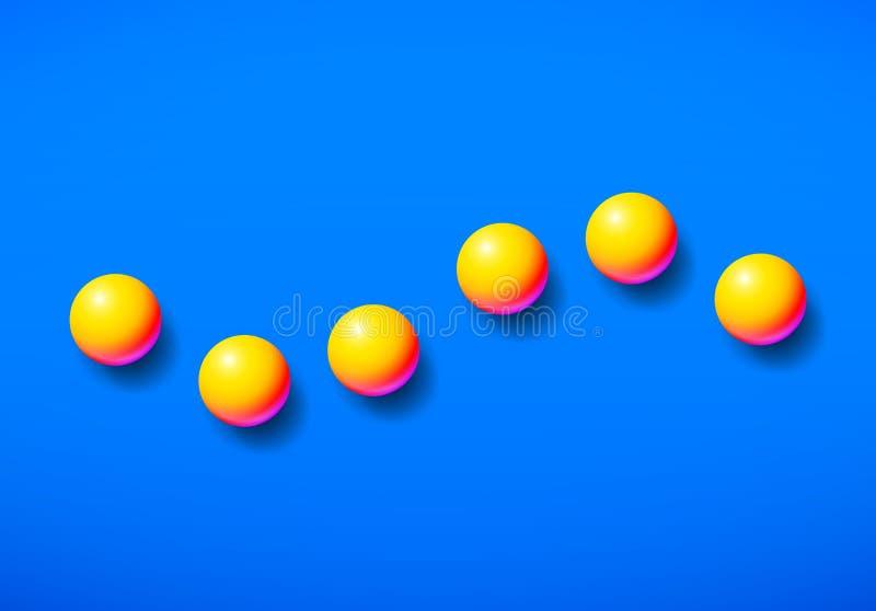 Färbte glänzende Memphis-Säure des abstrakten Hintergrundes gelbe Bälle über blauem Hintergrund vektor abbildung