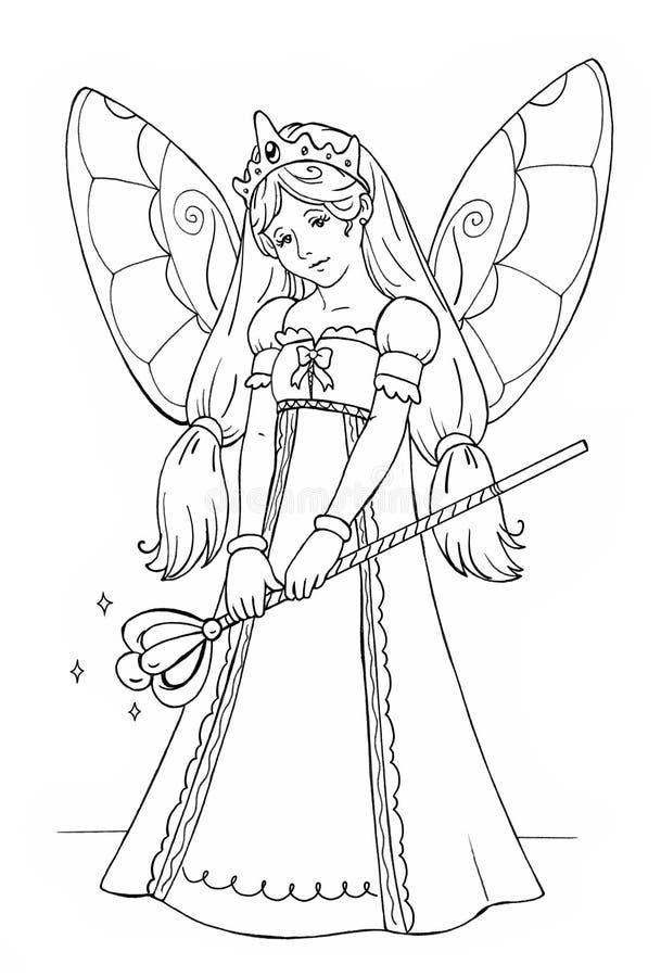 Färbung mit Märchenkönigin lizenzfreie abbildung