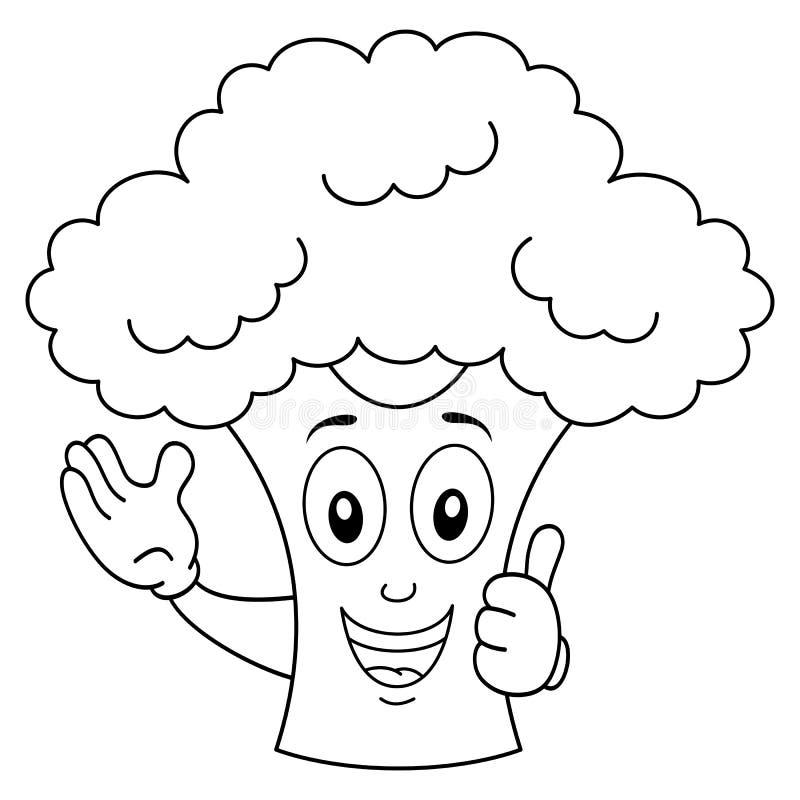 Färbungslächelnde Brokkoli-Zeichentrickfilm-Figur stock abbildung