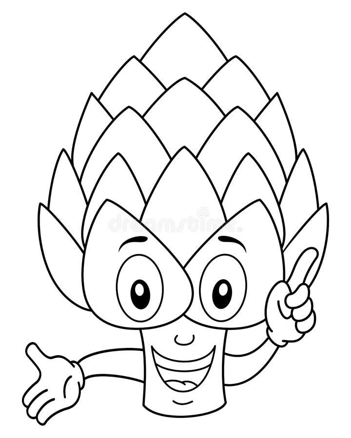 Färbungslächelnder Artischocken-Charakter stock abbildung