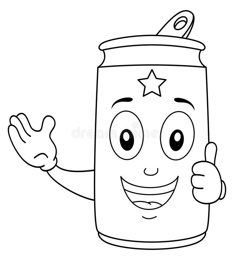 Färbungslächelnder Getränkedose-Charakter vektor abbildung