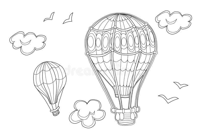 Färbungsseite des Luftfahrzeugs für Kinder Vektorillustration von Luft Ballons lizenzfreie abbildung