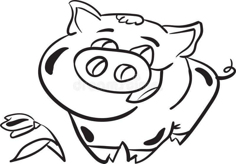 Färbungsseite des Schweins und der Blume für Kinder stockbilder