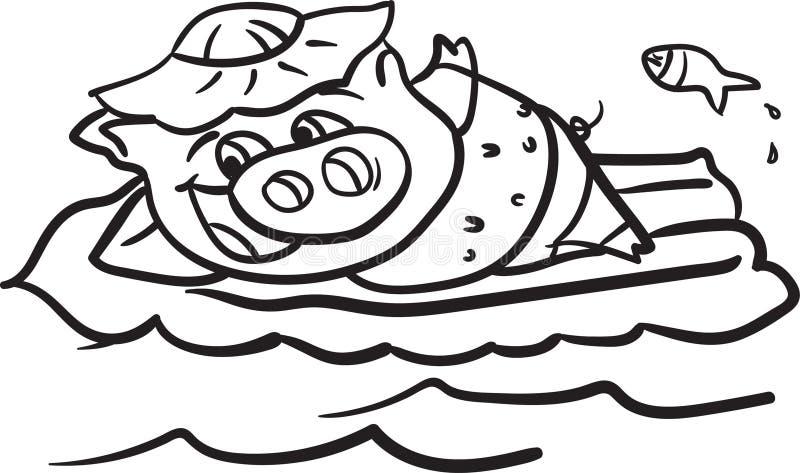 Färbungsseite des Schweins und des Strandes für Kinder lizenzfreie stockfotos