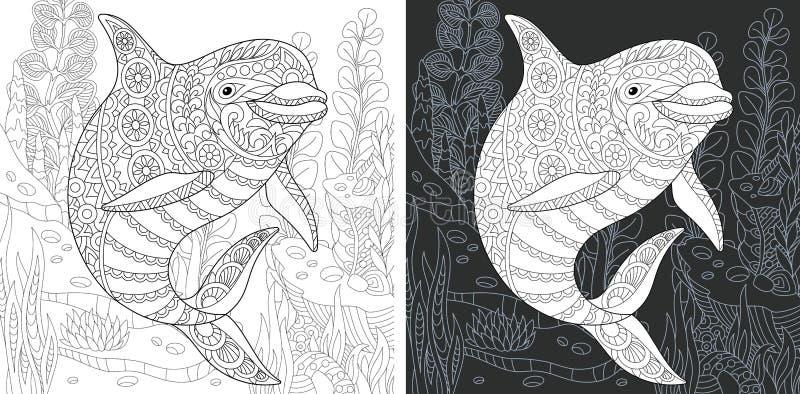 Färbungsseite mit Delphin vektor abbildung