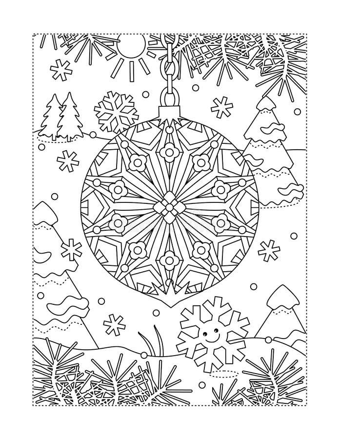 Färbungsseite mit schöner Weihnachtsverzierung vektor abbildung