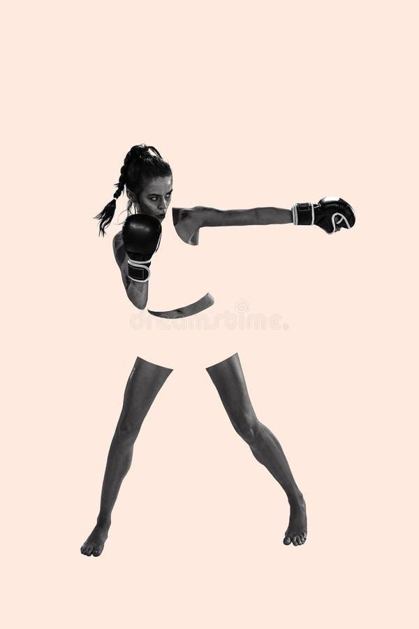 Färdig härlig kvinna med de boxas handskarna, idérik collage fotografering för bildbyråer