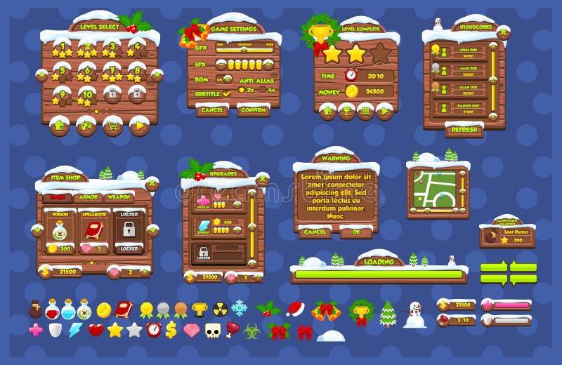 Färdig jul modiga GUI Pack stock illustrationer