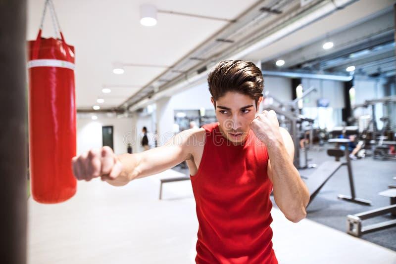 Färdig latinamerikansk man i idrottshall som stansar boxningpåsen fotografering för bildbyråer