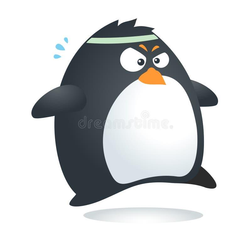 Färdig pingvinmaraton stock illustrationer
