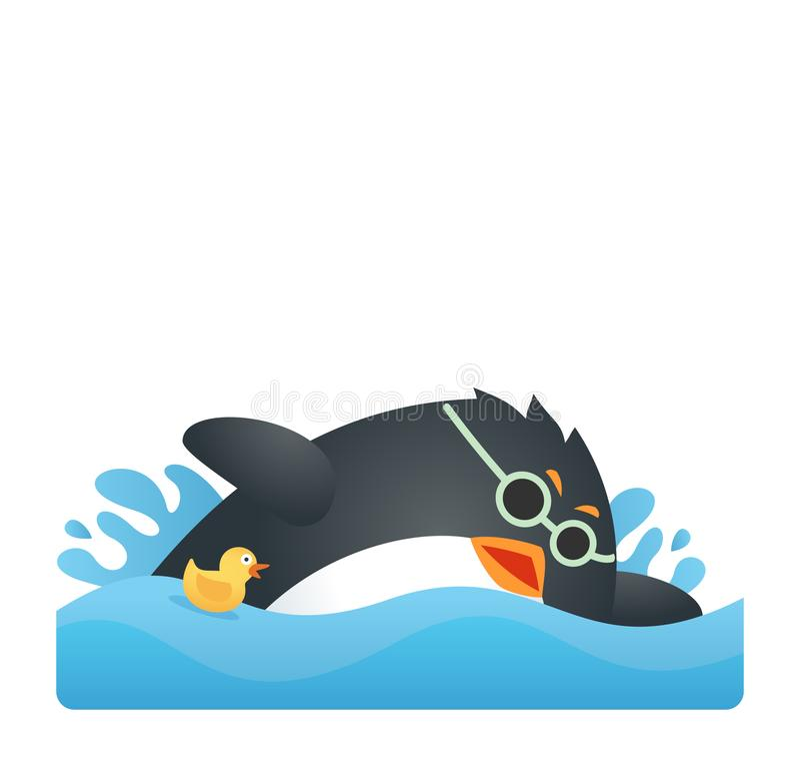 Färdig pingvinsimning vektor illustrationer