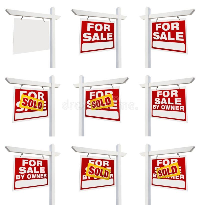 Färdig uppsättning av Real Estate tecken med till salu, sålt, till salu stock illustrationer