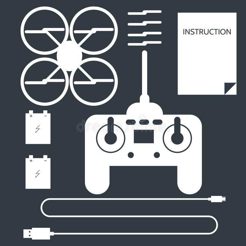Färdig uppsättning för quadrocopter Plana symboler royaltyfri illustrationer