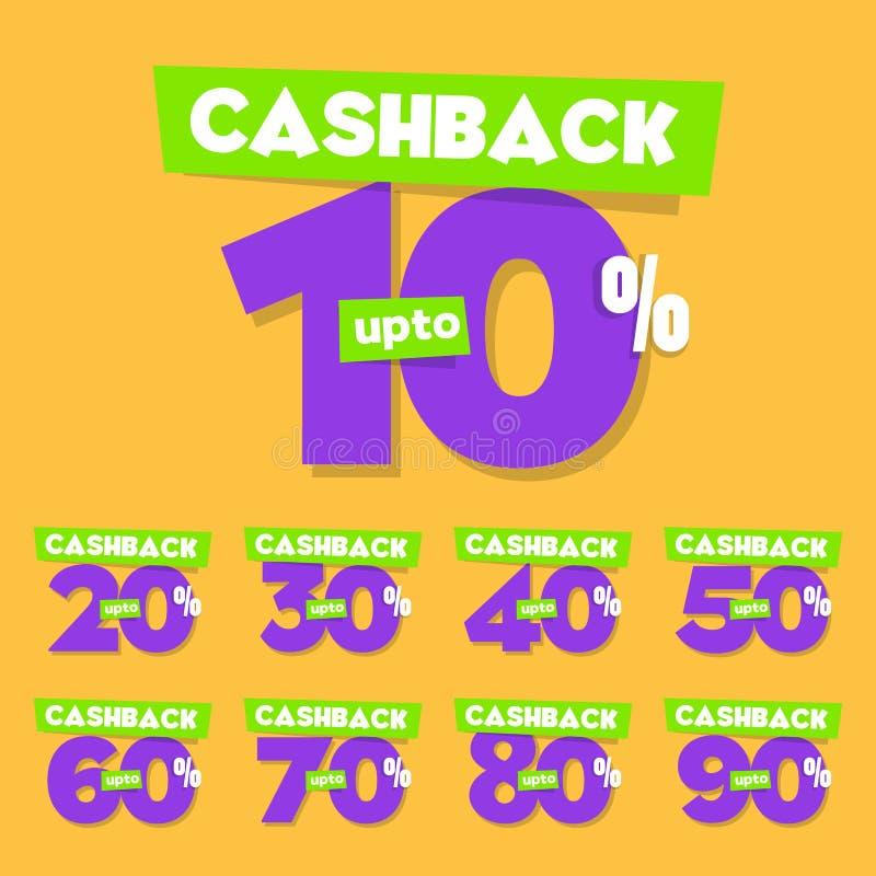 Färdig uppsättning 10% till 90% av den Cashback vektorn Sale märker stock illustrationer
