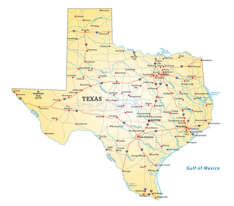 Färdplan Texas stock illustrationer