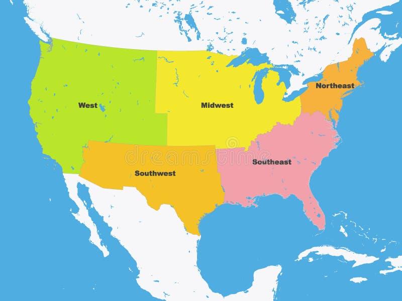 Färgöversikt av regionerna av Amerikas förenta stater royaltyfri illustrationer