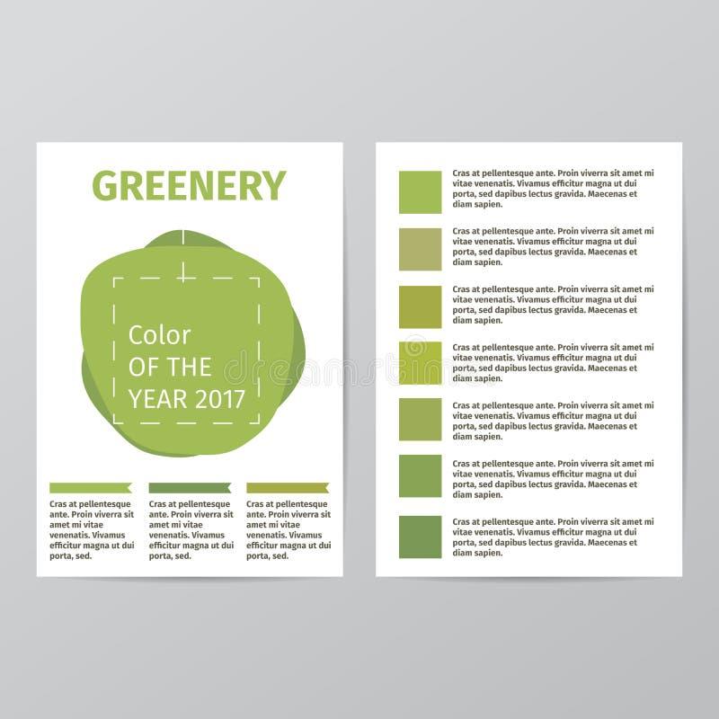 Färg av året 2017 Härlig moderiktig broschyrmall för grönska stock illustrationer