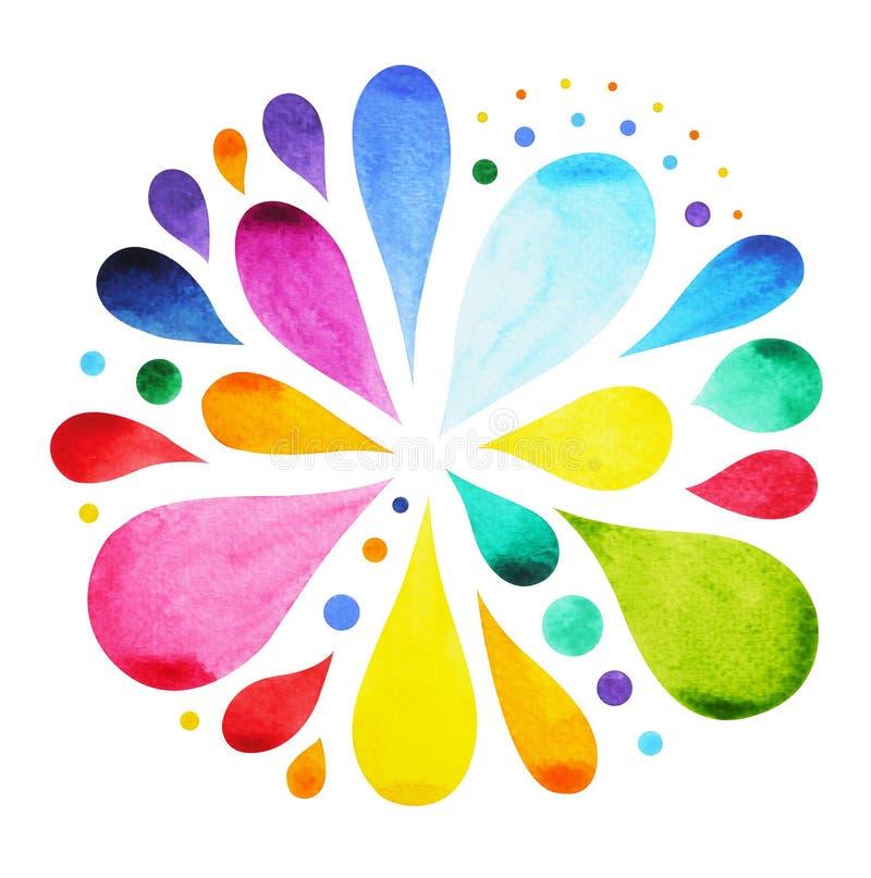 färg 7 av begreppet för chakramandalasymbolet, blommar blom-, vattenfärgmålning royaltyfri illustrationer