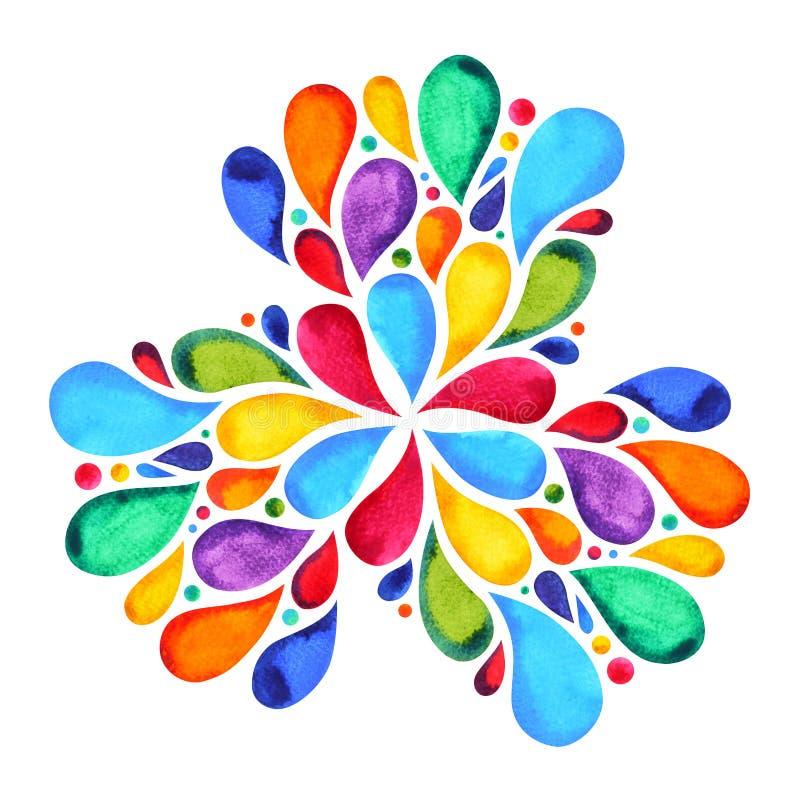 färg 7 av begreppet för chakramandalasymbolet, blommar det blom- bladet royaltyfri illustrationer