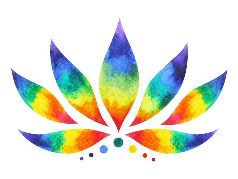 färg 7 av chakrasymbolbegreppet, blommar blom-, vattenfärgmålning royaltyfri bild