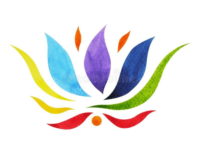 färg 7 av chakrasymbolbegreppet, blommar blom-, vattenfärgmålning royaltyfri illustrationer