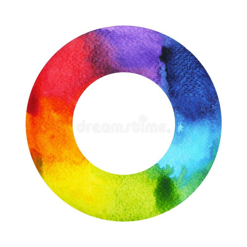 färg 7 av chakrasymbolbegreppet, rund cirkel, vattenfärgmålning royaltyfri illustrationer