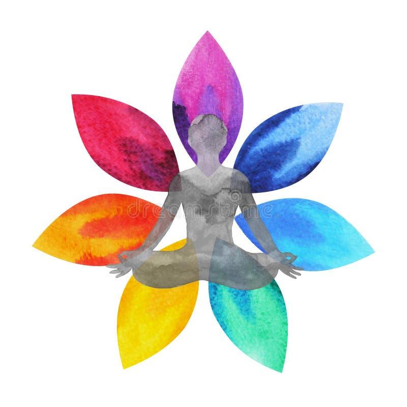 färg 7 av chakrasymbolet, lotusblommablomma med människokroppen, vattenfärgmålning royaltyfri illustrationer