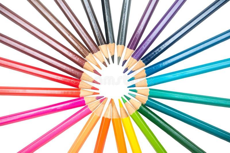 Färg av färgpennaträ arkivfoton